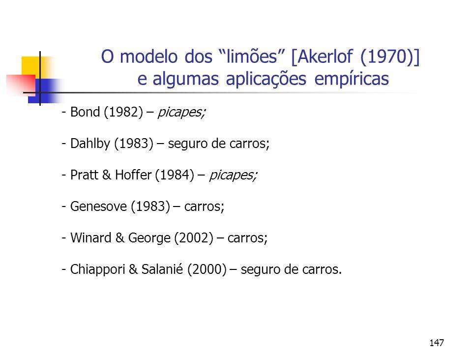 O modelo dos limões [Akerlof (1970)] e algumas aplicações empíricas